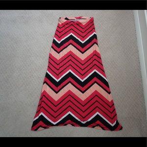 chevon pink maxi skirt
